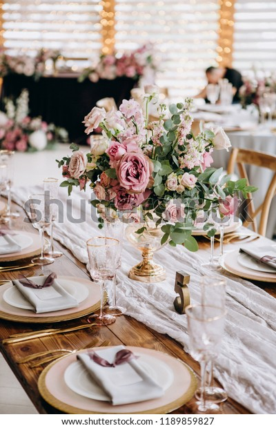 Wedding Table Decoration Setting Vintage Rustic Stock Photo (Edit ...