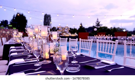 wedding table decoration and  swimming pool image