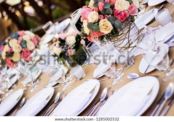 Wedding Table Decoration Tropical Beach Riviera Stock Photo (Edit ...
