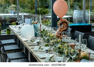 A wedding table decoration without people