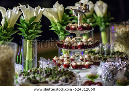 Wedding Table Decorations Chocolate Table Stock Photo Edit Now
