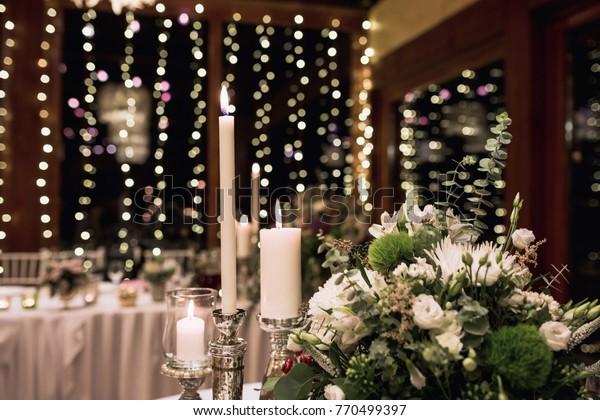 Wedding Table Decorations Led Lights Background Stock Photo ...