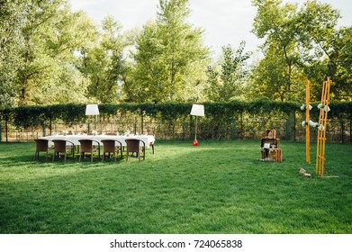 Wedding table for dinner with decorations