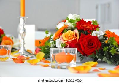 Wedding table flower decoration