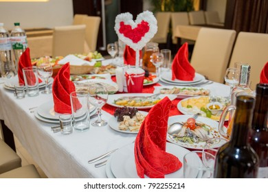 wedding table with a meal in a restaurant