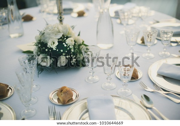 Wedding Table On Green | Royalty-Free Stock Image