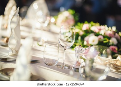Wedding table set up. Indoor set up of a wedding/party table with fresh flowers.