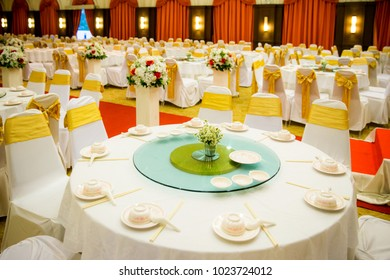 wedding table sets in wedding hall. wedding decorate preparation. table set and another catered event dinner, luxury wedding table setting for fine dining at outdoors.