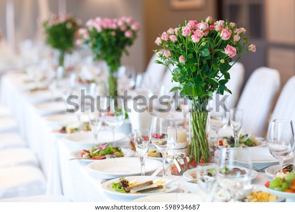 Wedding Table Setting Stock Photo (Edit Now) 598934687