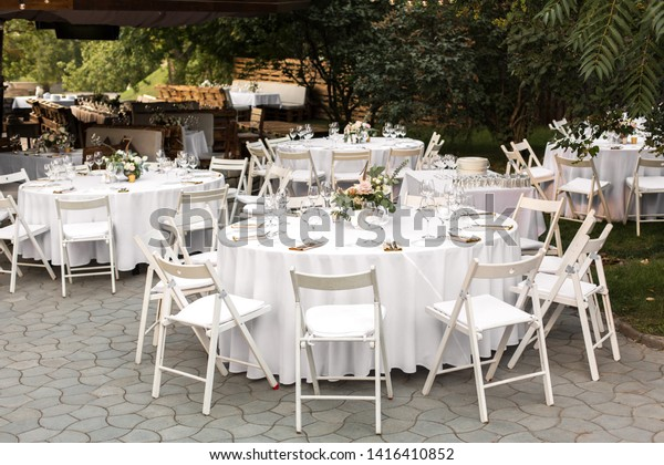 Wedding Table Setting Decorated Fresh Flowers Stock Photo (Edit ...