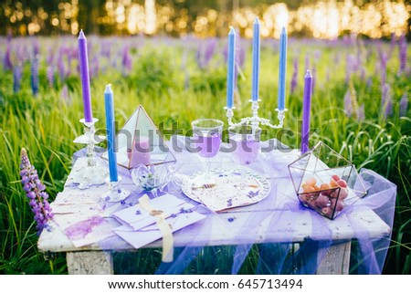Wedding Table Setting Field Lupines Table Stock Photo (Edit Now ...
