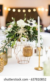 Wedding table setting and floral decoration.