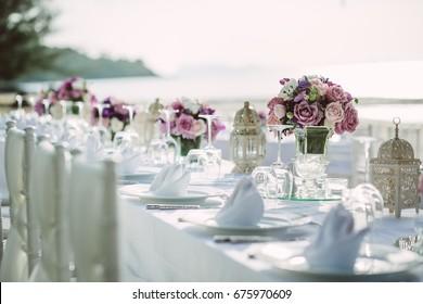 Wedding table setting on the sea