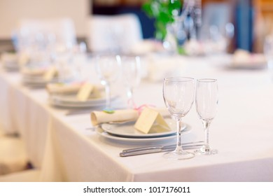 Wedding table setting in the restaurant.