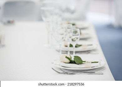 wedding table setting with rose