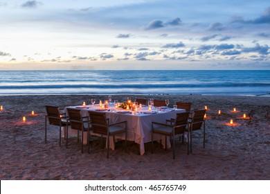 wedding table setup on the beach at Thailand