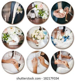 Wedding theme collage composed of different images on white background