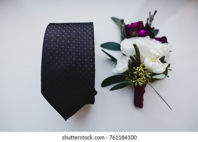 The wedding tie and buttonhole for groom