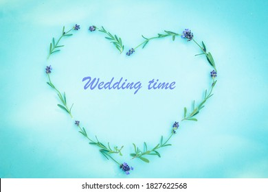 Wedding time title in lavender heart