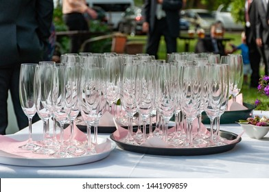 Wedding toast. bottles of champagne and wine glasses for wedding toast.
