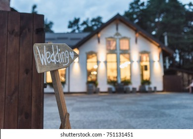 Wedding venue place with wooden plate