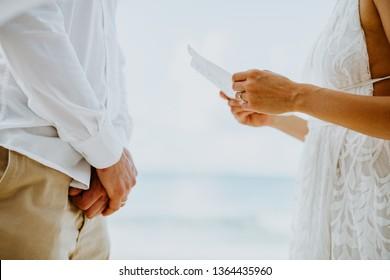 wedding vows ceremony on beach close up.