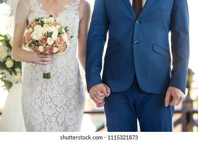 Wedding vows. Groom and bride no face