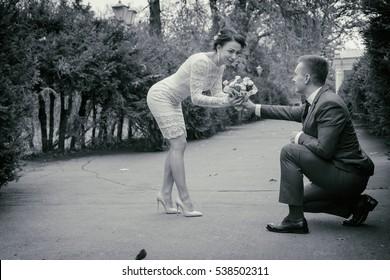 Wedding, walk, groom and bride
