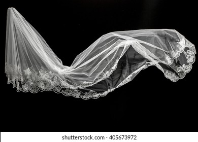 wedding white Bridal veil on black background isolated