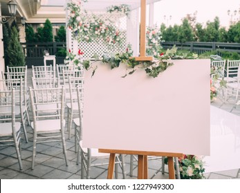 Wedding wood board with copy space in ceremony.