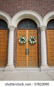 Wedding Wreaths on Arched Doors