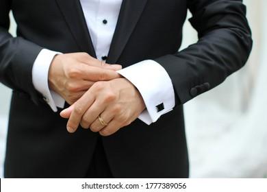 weddings stylish groom or groomsmen in suit