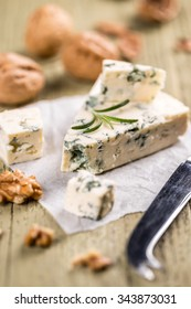Wedge of French blue Roquefort cheese