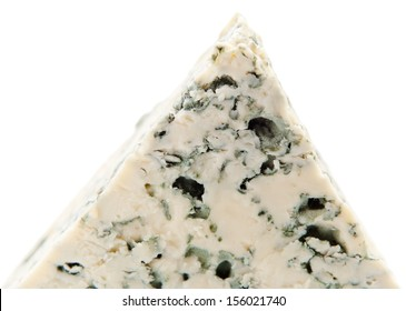 Wedge of gourmet cheese on white background