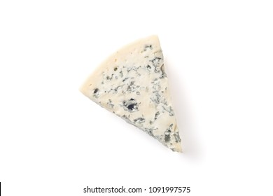 Wedge of soft blue cheese with mold isolated on white background. Top view