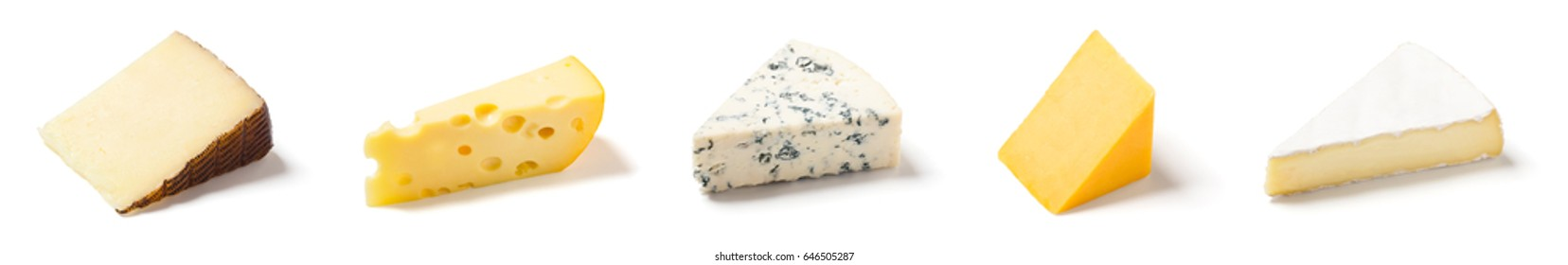 Wedges of 5 Different Types of Cheese on White Background: Manchego (sheeps' milk), Swiss or Emmental, Bleu or Gorgonzola, Cheddar, and Brie