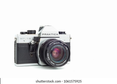 wednesday 20 february 2018, Badajoz, Spain. Praktica MTL5B Old photo camera on white background