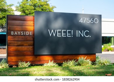 Weee! Inc. sign at headquarters of Asian grocery delivery service company - Fremont, California, USA - 2020