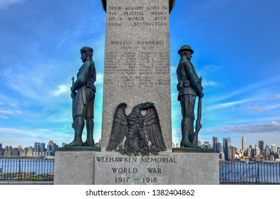 Weehawken, New Jersey - April 21, 2019: The Weehawken World War I Veterans Memorial in Weehawken, NJ. The U.S. had 116,708 military deaths and over 200,000 wounded during the war.