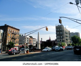 Weehawken, NJ - June 18 2013: War Memorial Plaza at the intersection of Park Avenue and Broadway