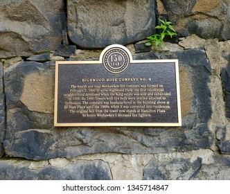 Weehawken, NJ - May 28 2018: Plaque commemorating the site of Highwood Hose Company No. 4, a historic firehouse on Duer Place