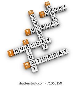 weekdays crossword  (3D crossword orange series)