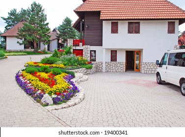 weekend houses with gardens and stone road in Serbia, Zlatibor