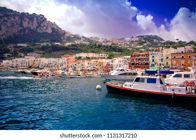 Weekend on the island of Capri. Port of the island of Capri.Porto dell'isola di Capri. Sunny day of the island of Capri.Campania. Isola. Italy.