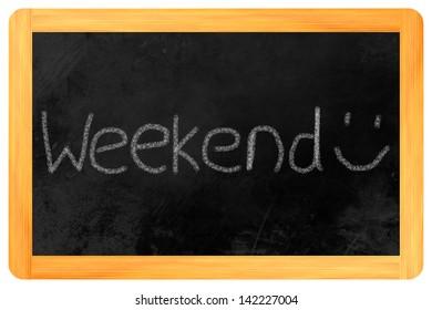 weekend written on a blackboard