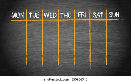 Weekly Calendar on chalkboard background