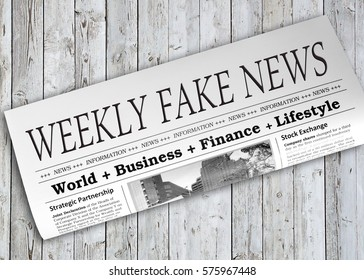 Weekly Fake News Newspaper on grey wooden background