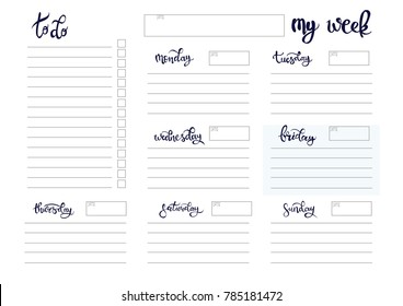 weekly planer blank template bullet journal style