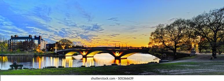 Weeks Memorial Bridge across Charles River in Cambridge, Massachusetts
