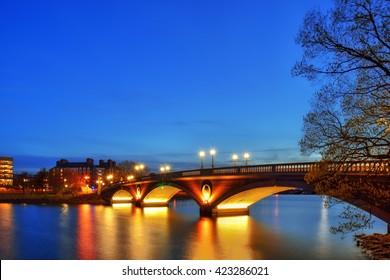 Weeks Memorial Bridge at night, Harvard University